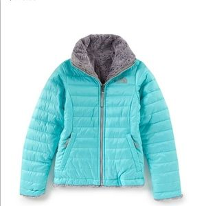 The North Face girl's reversible fuzzy jacket mint